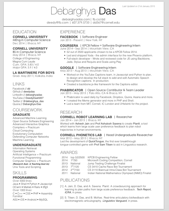 latex resume template computer science