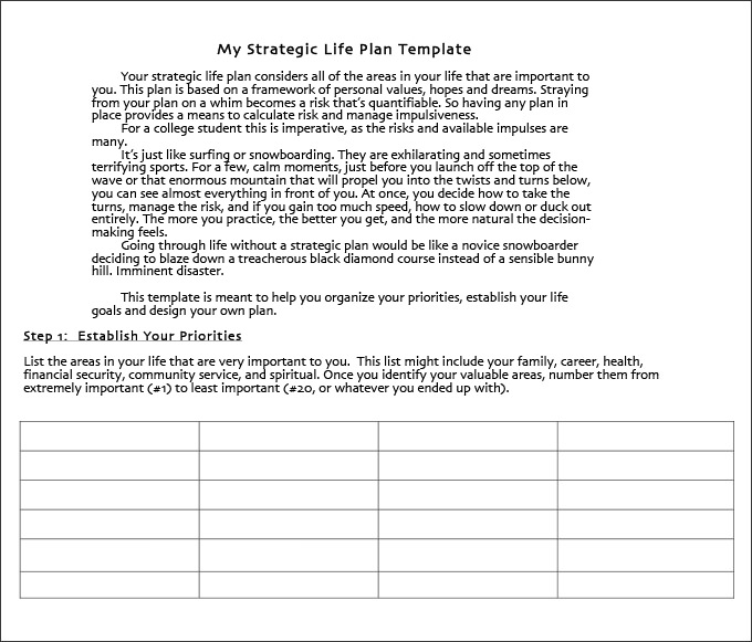 Life Plan Template 4+ Free Word, PDF Documents Download   Free