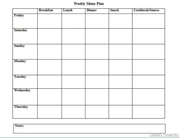 Meal Planner Template Google Docs | planner template free