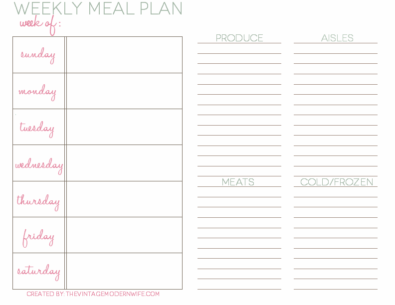 Meal Planning Template | cyberuse