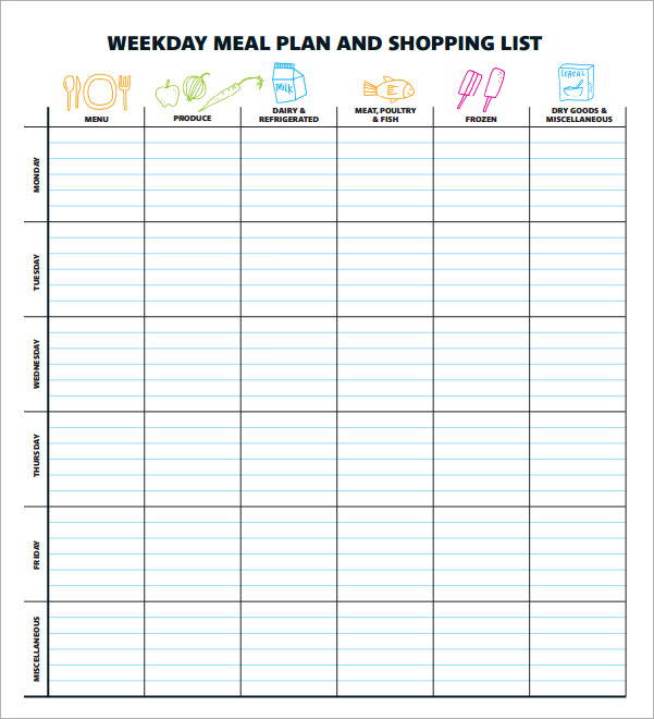 Sample Meal Planning Template 16+Download Free Documents in PDF