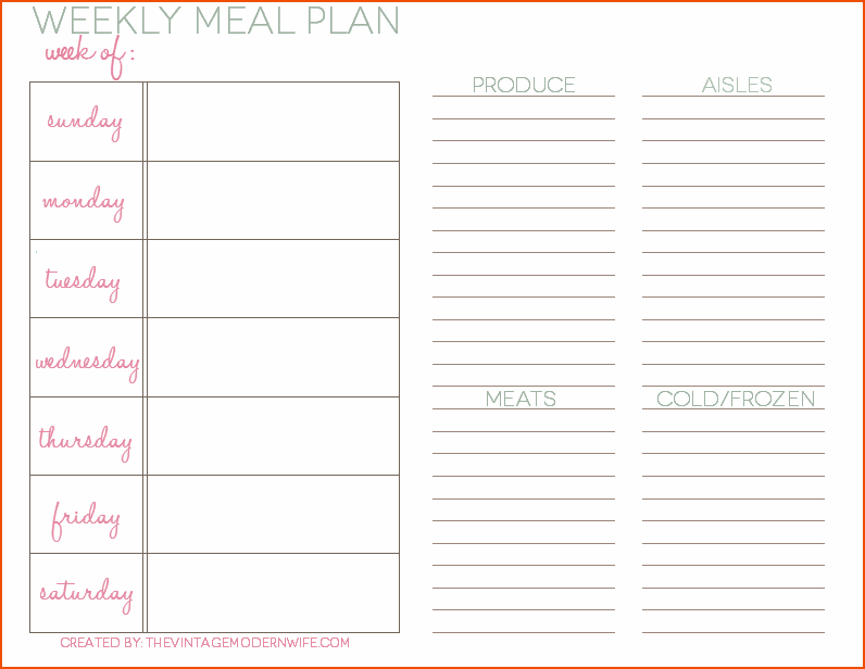 8+ weekly meal planner template bookletemplate.org