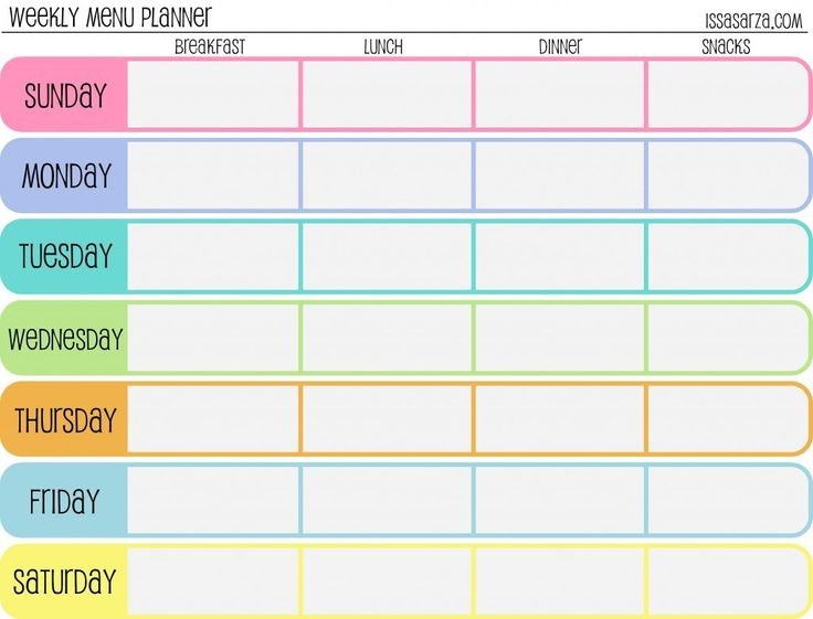 Meal Plan Template Word | Template Design