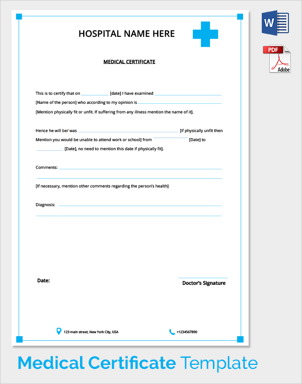 student certificate templates for word - medical certificate format for sick leave for student