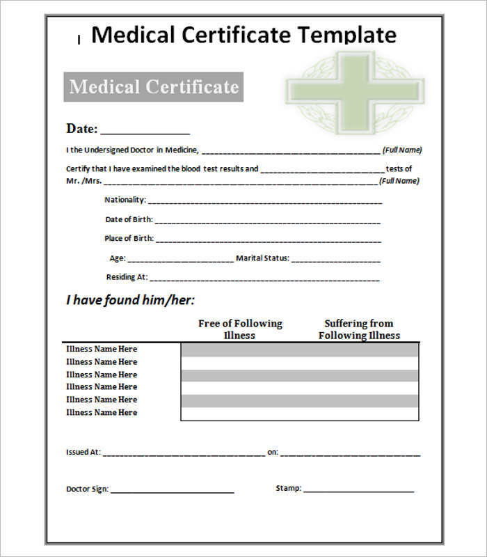 Medical Certificate Template Doc