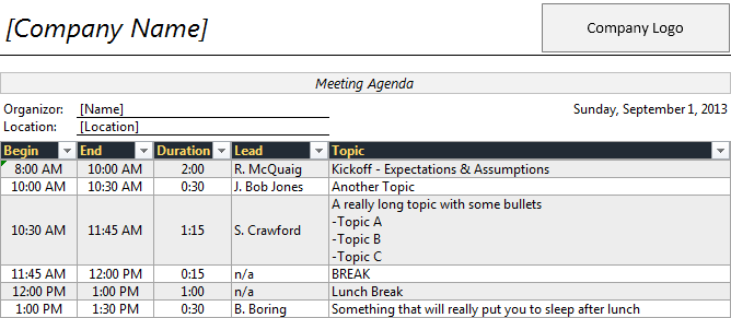 excel agenda template free