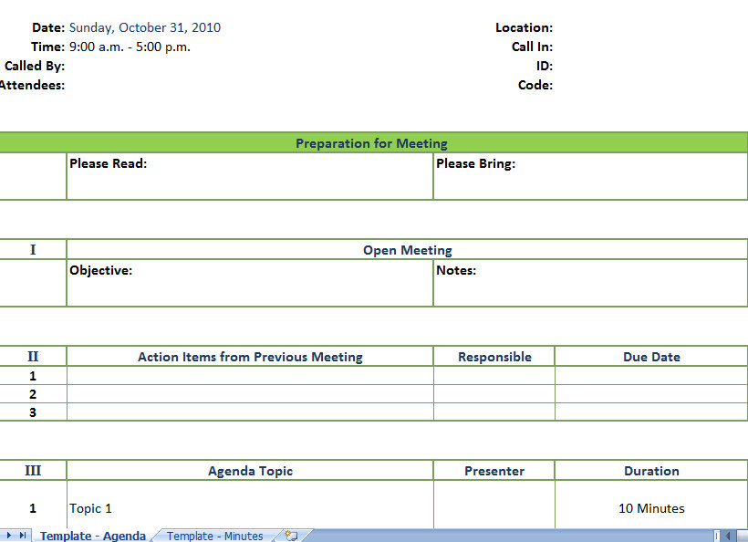 Sample Meeting Agenda Template | Business Meeting Agenda