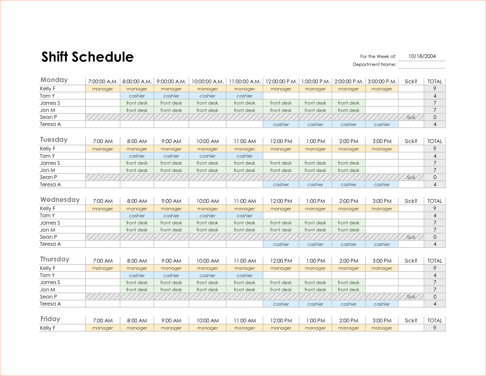 4+ monthly schedule template excel | Procedure Template Sample