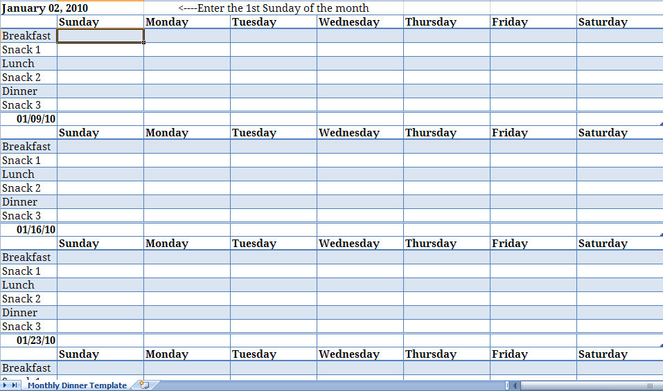 monthly meal planner template  u2013 planner template free