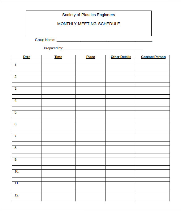 Monthly rota template planner template free for Weekly meeting calendar template