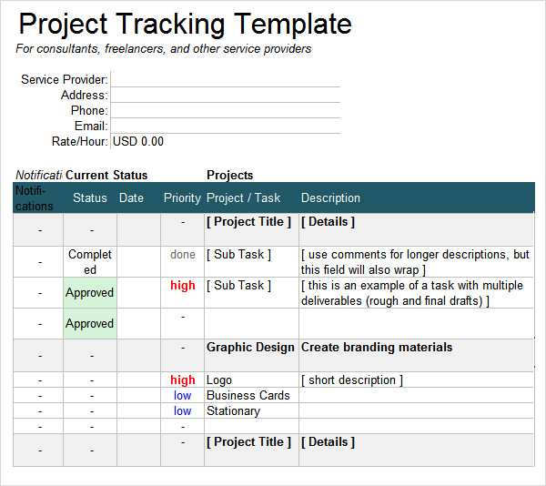 Free Project Tracking Template for Excel