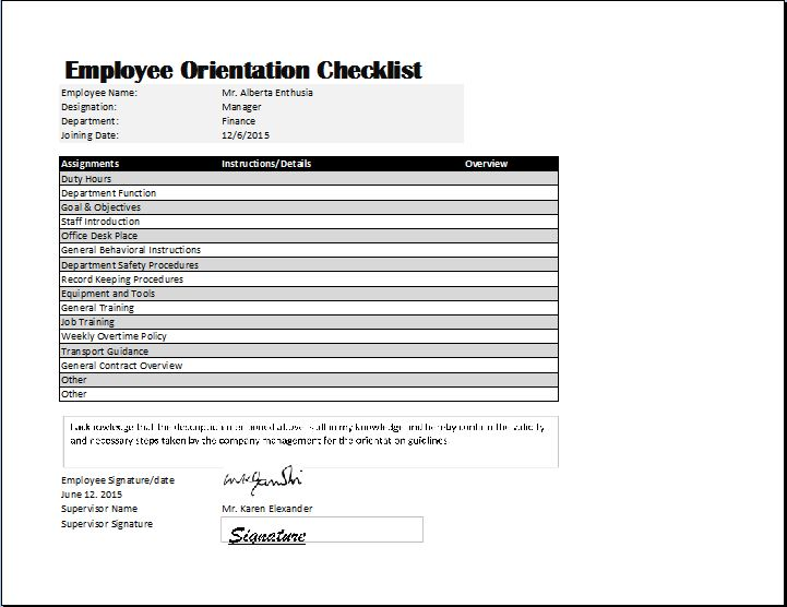 Employee Orientation Checklist Template | Word & Excel Templates