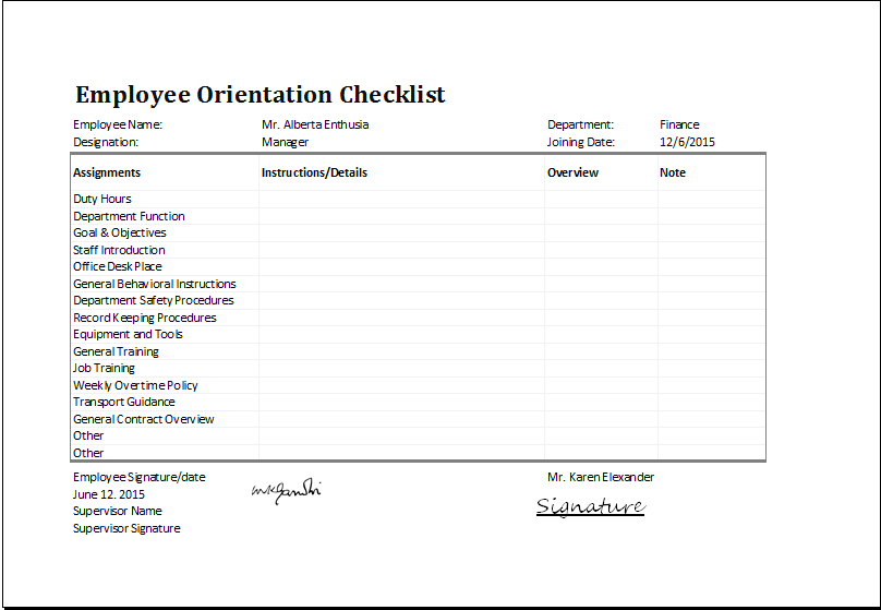 MS Excel Employee Orientation Checklist Editable Template | Excel