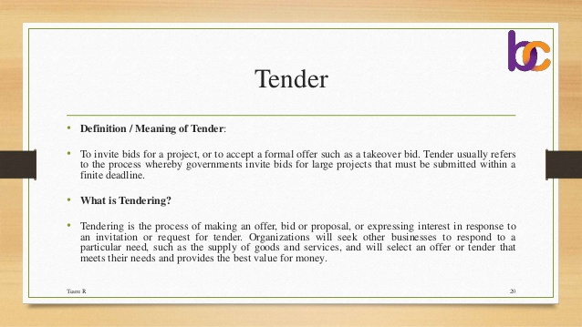 Cover Letter, Quotations, Tender & E Tender