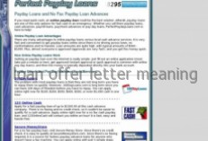 Loan offer letter meaning, Ace cash express first loan free