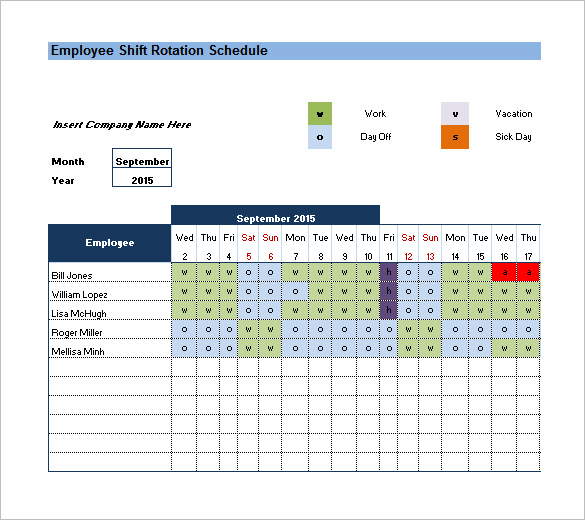 Rotating/Rotation Shift Schedule Template – 10+ Free Word, Excel