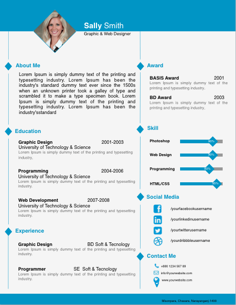 Diamond Image Resume Template for Pages | Free iWork Templates
