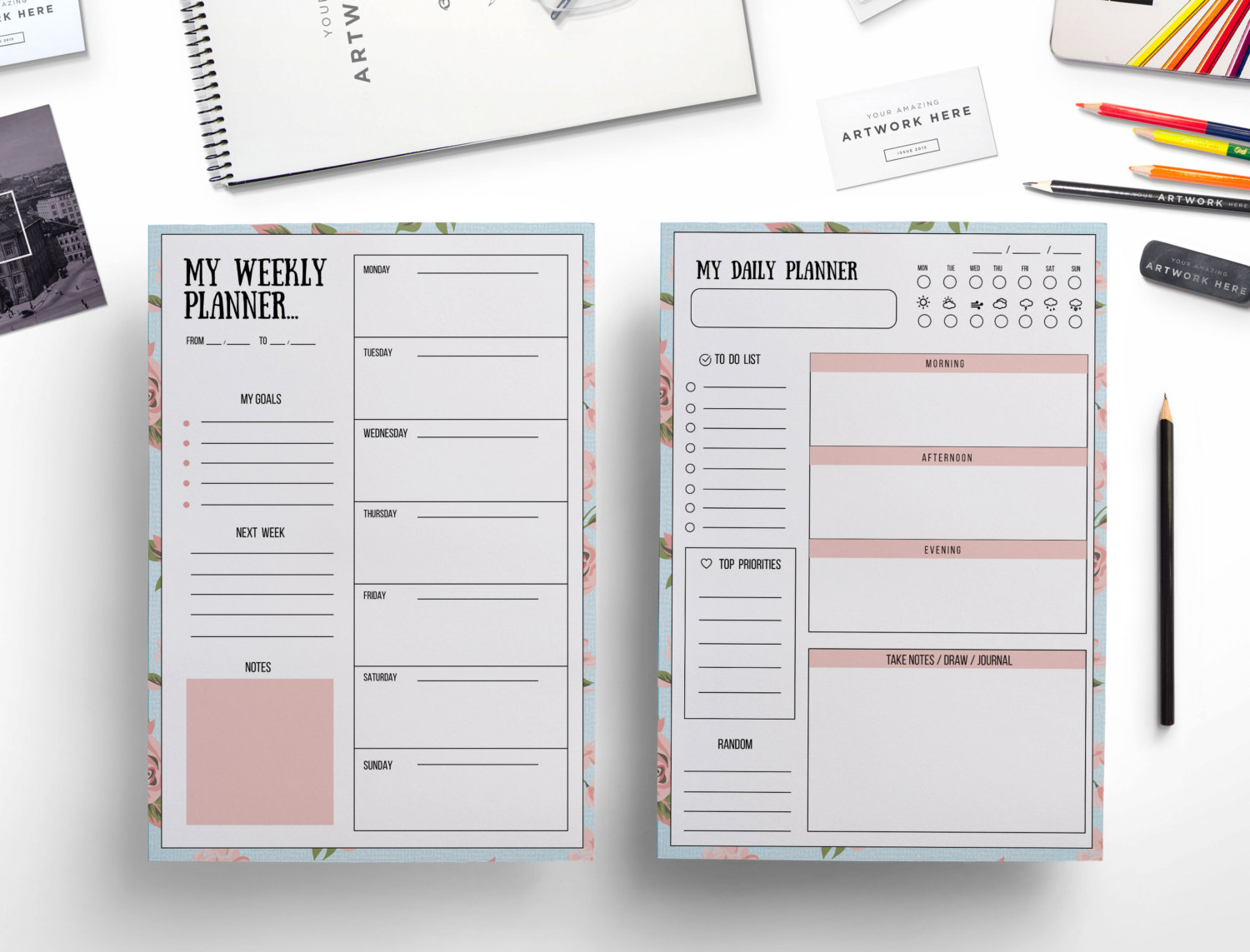Daily planner Weekly planner floral background /