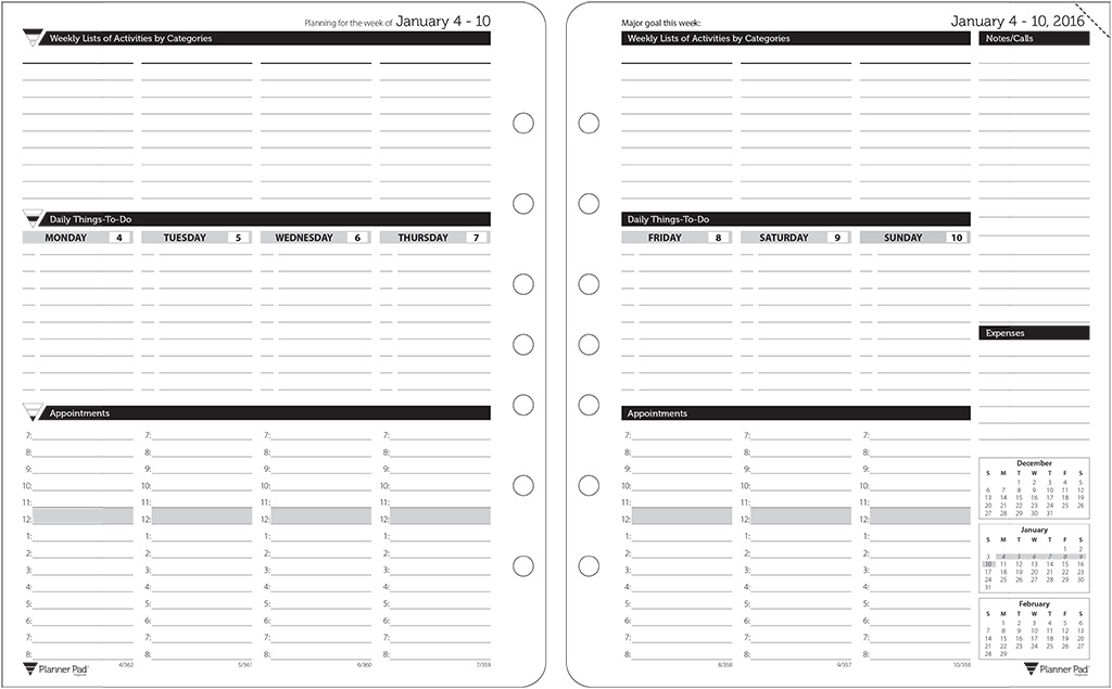 Planner Pad Template Planner Template Free