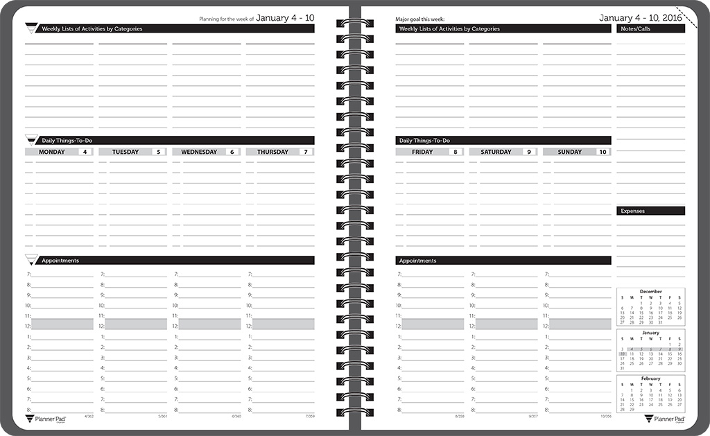 Planner Pads: Spiral Bound Organizer Black Ink Style Personal Size
