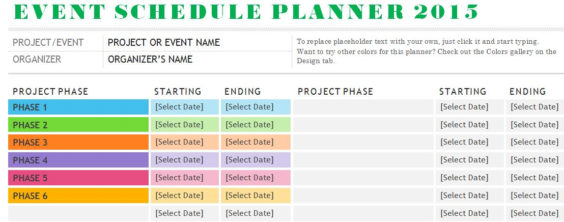 Sample Event Schedule Planner Template | Formal Word Templates