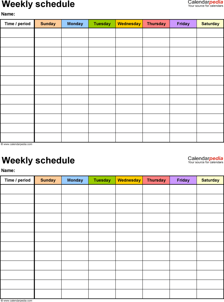 Printable Daily Schedule Template | Daily Planner PDFs