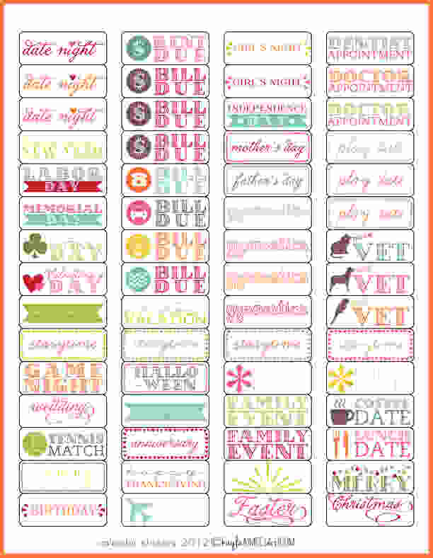 Planner Stickers Template.calendar Stickers 1 Preview. Sales