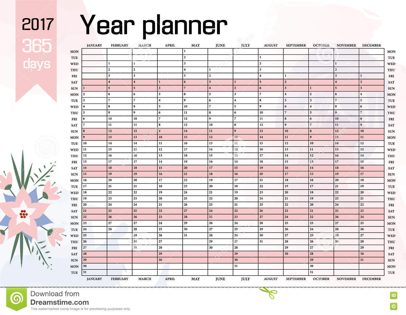 2017 Calendar Download 17 free printable Excel templates (.xls)