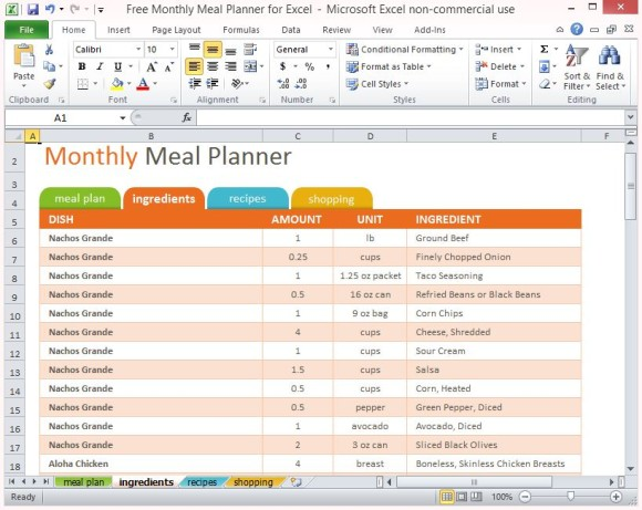 Free Monthly Meal Planner For Excel