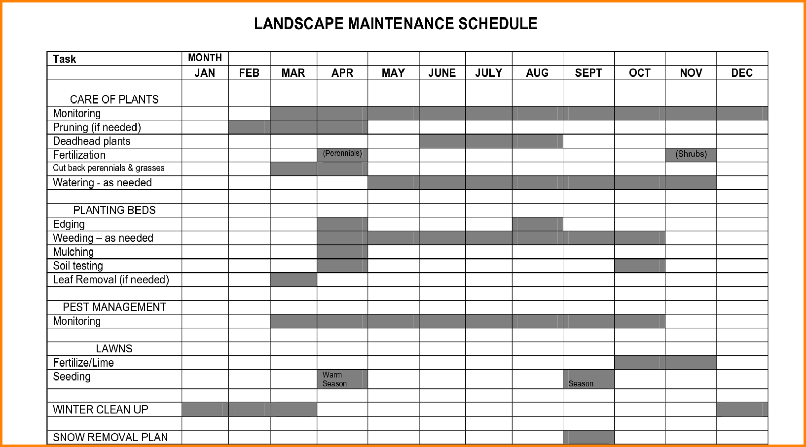Plant maintenance schedule template excel planner for Maintenance schedules templates