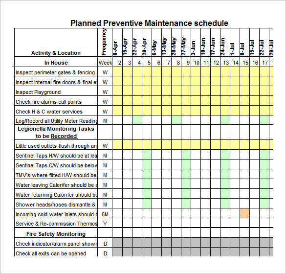 Preventive Maintenance Schedule Template 30+ Free Word, Excel