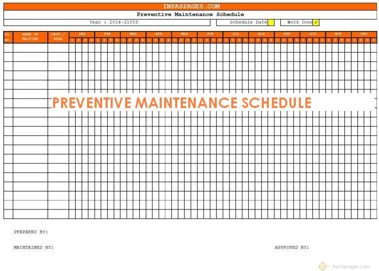 Preventive maintenance schedule