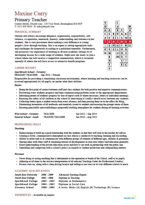 primary school teacher cv sample  u2013 planner template free