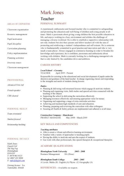 Writing a cv for a teaching job