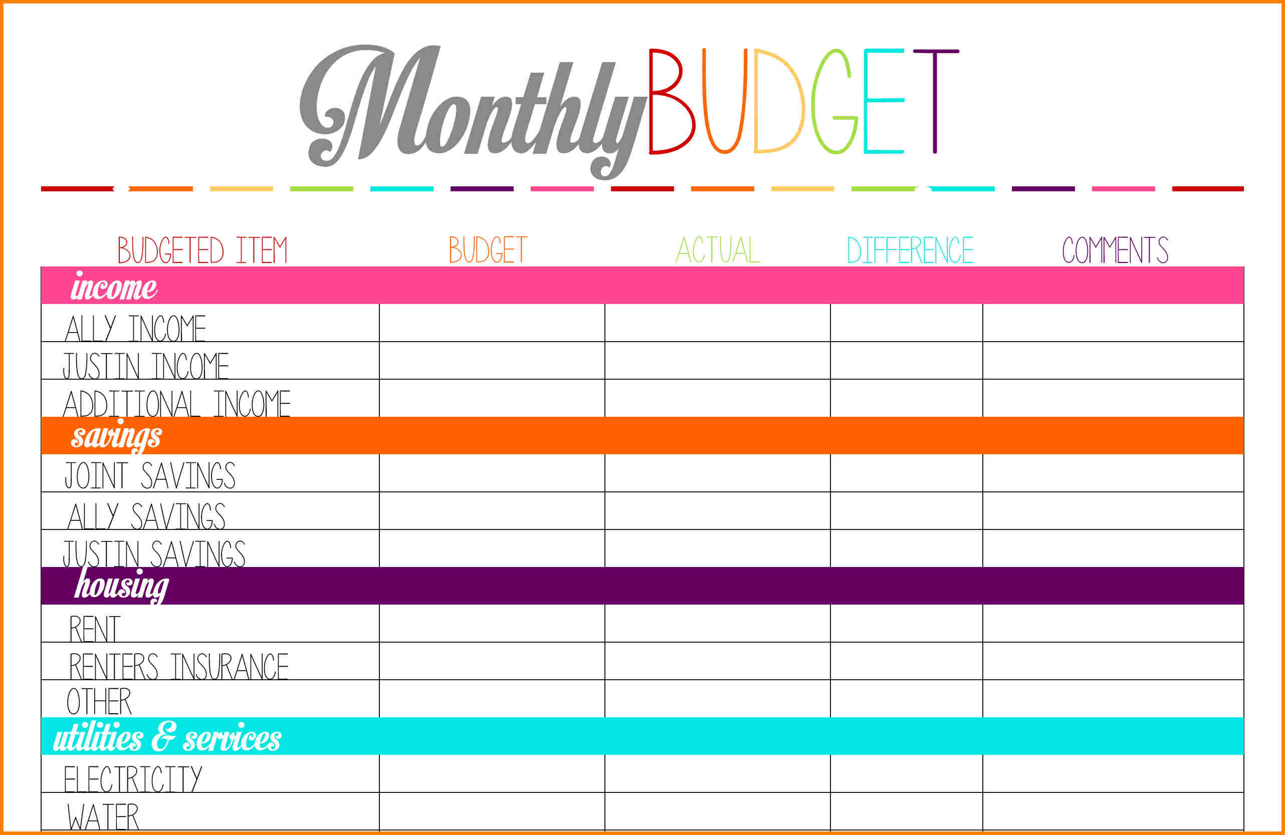 4+ printable budget planner | monthly bills template