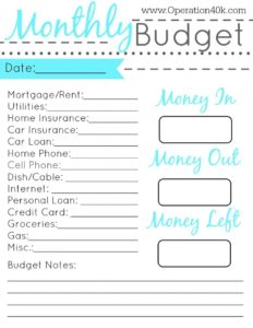 budget planner template printable