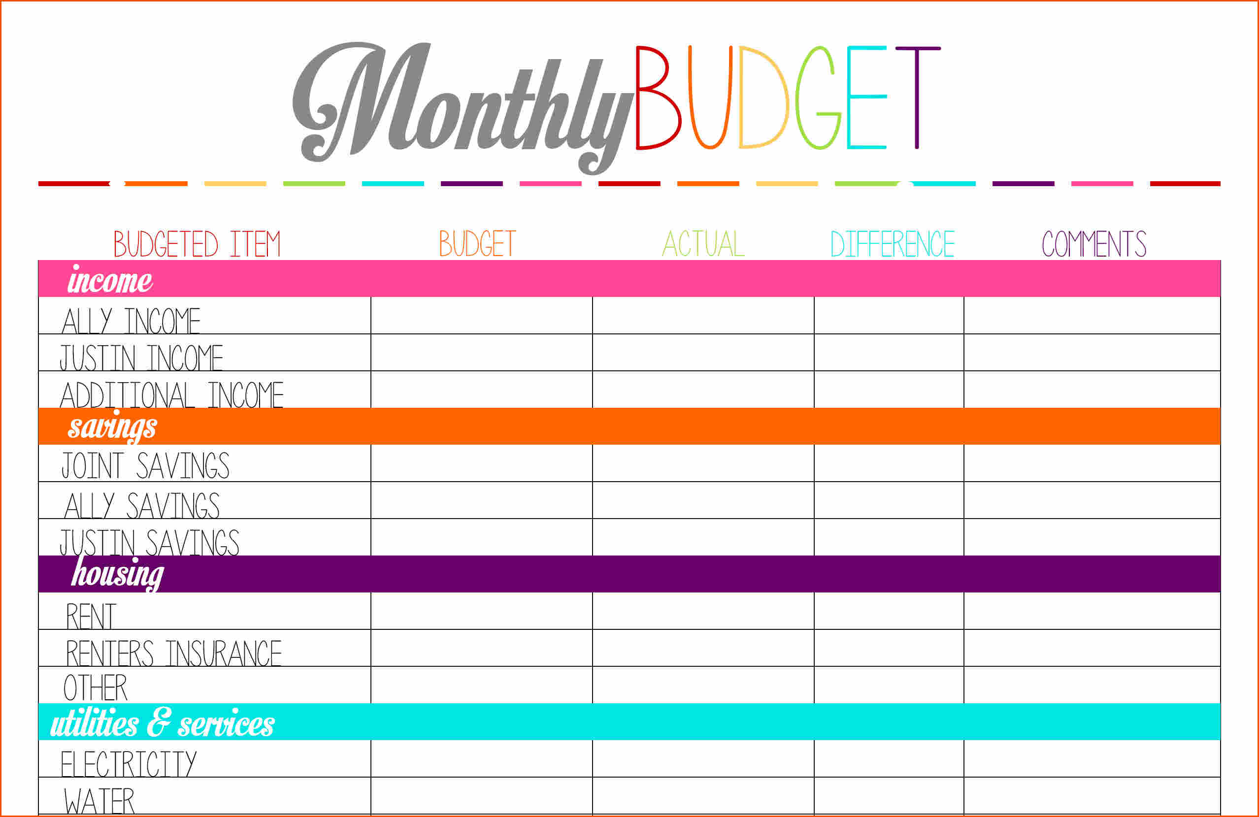 Budget worksheet printable Memo Templates Word