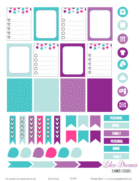 Lilac Dreams Planner Stickers Free Printable Download Vintage