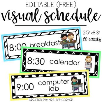 Printable visual schedule for classroom planner template for Preschool classroom schedule template