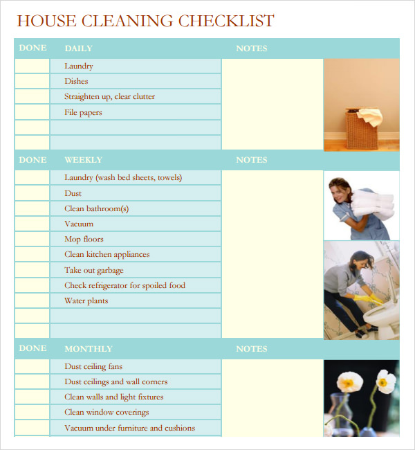 Resource image for professional house cleaning checklist printable