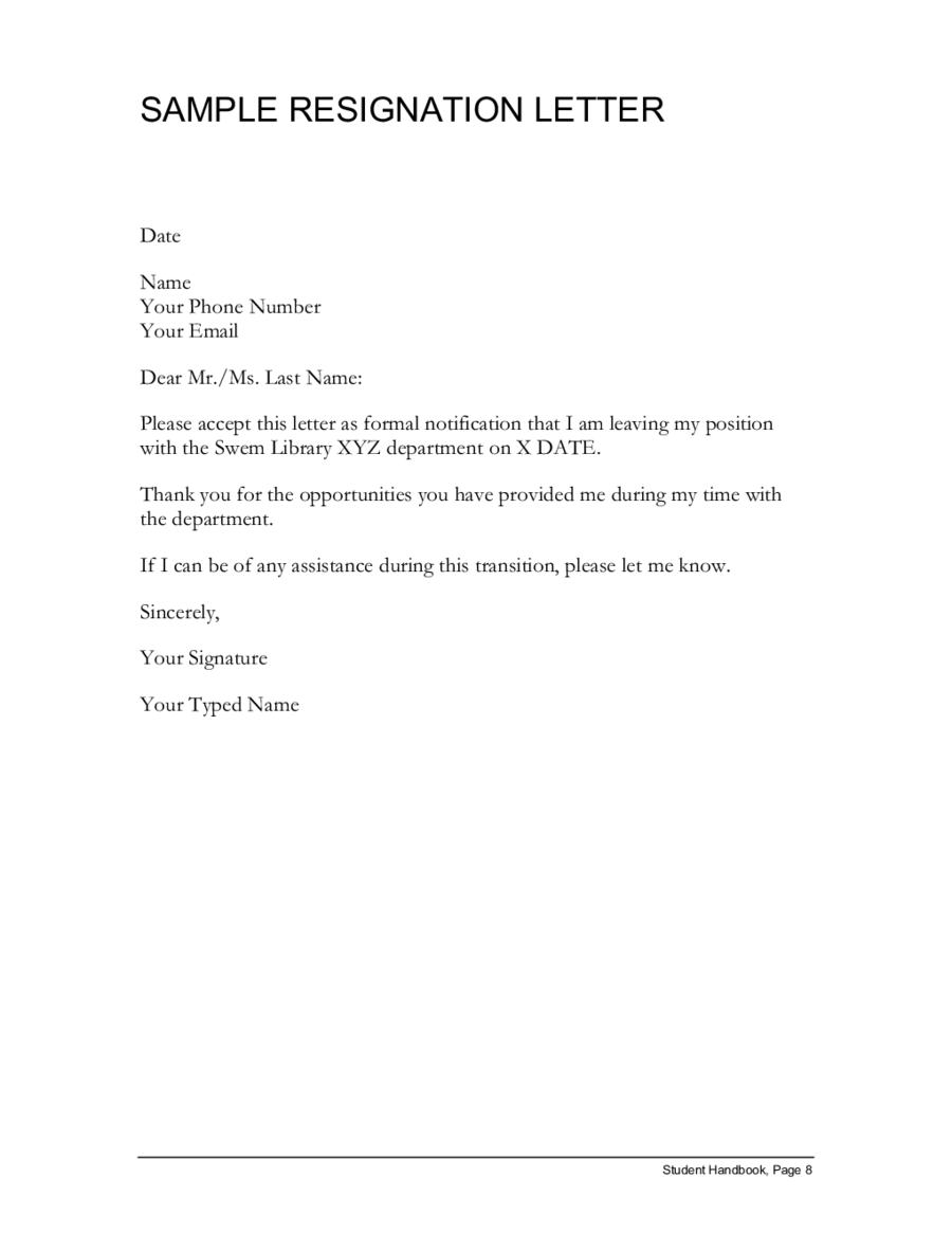 Resignation Letter Format: Template Changeable Present Position