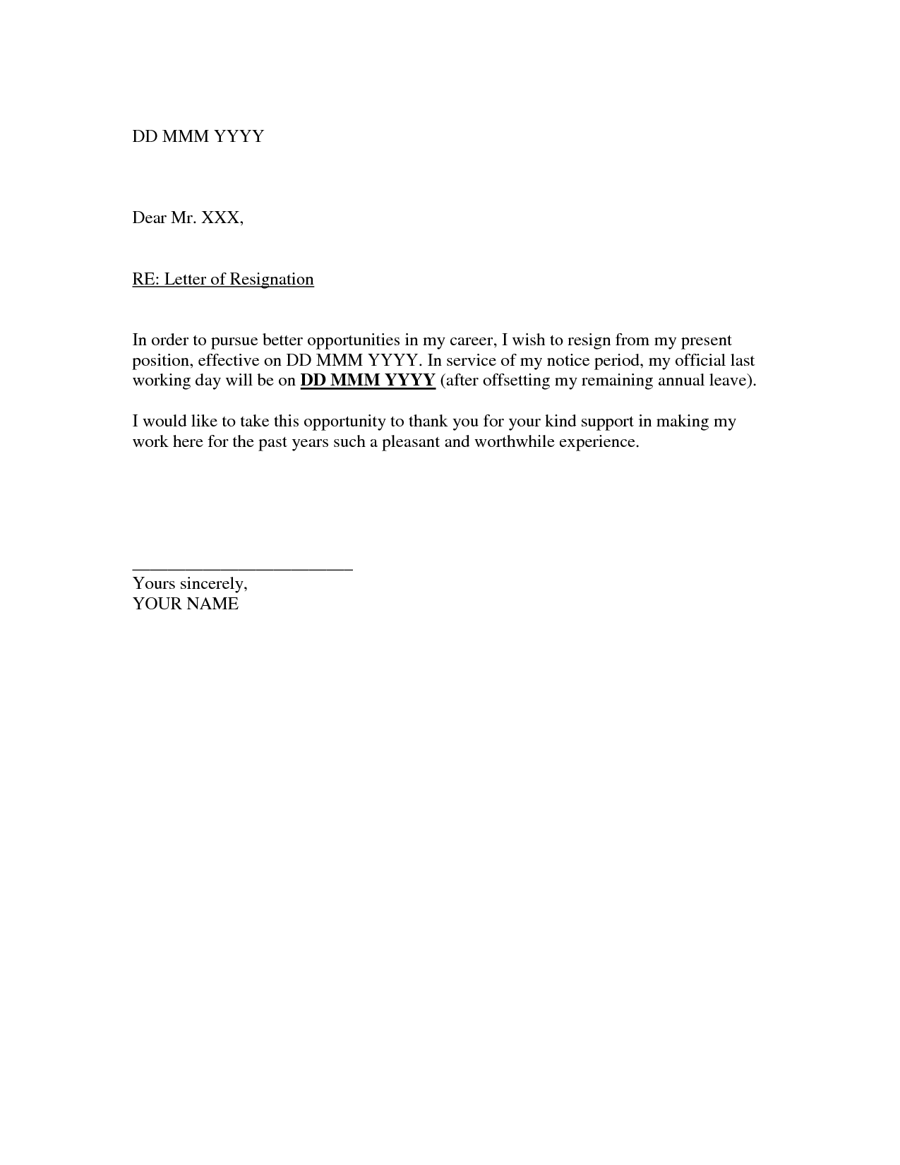 quitting letter template