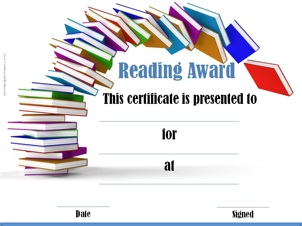 Reading Awards and Certificate Templates Free & Customizable
