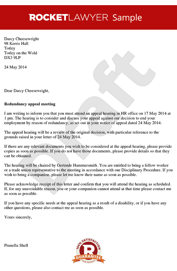 to a Redundancy Appeal Meeting Redundancy Appeal Notice