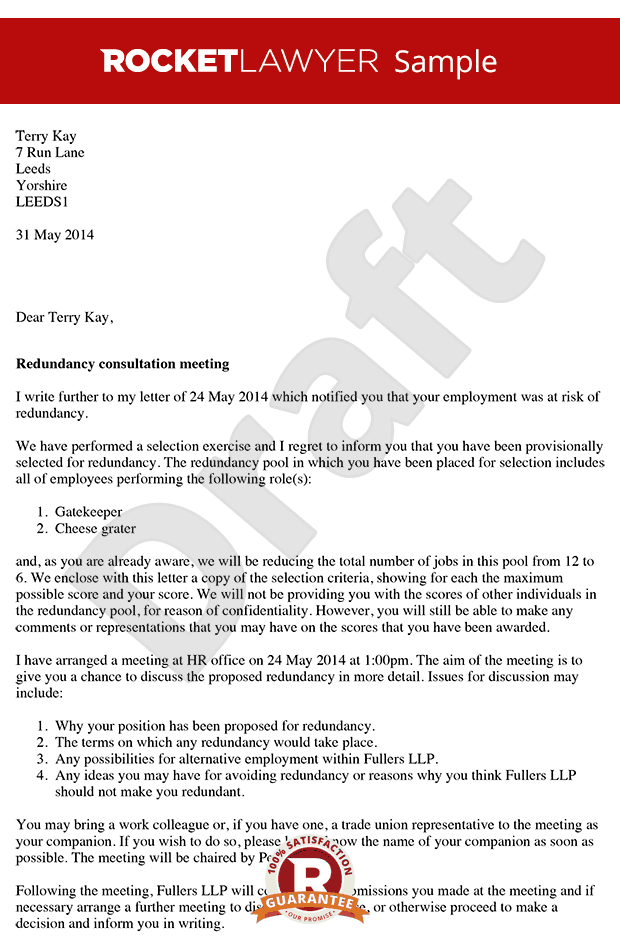 Consultation Letter Arrange a Redundancy Consultation