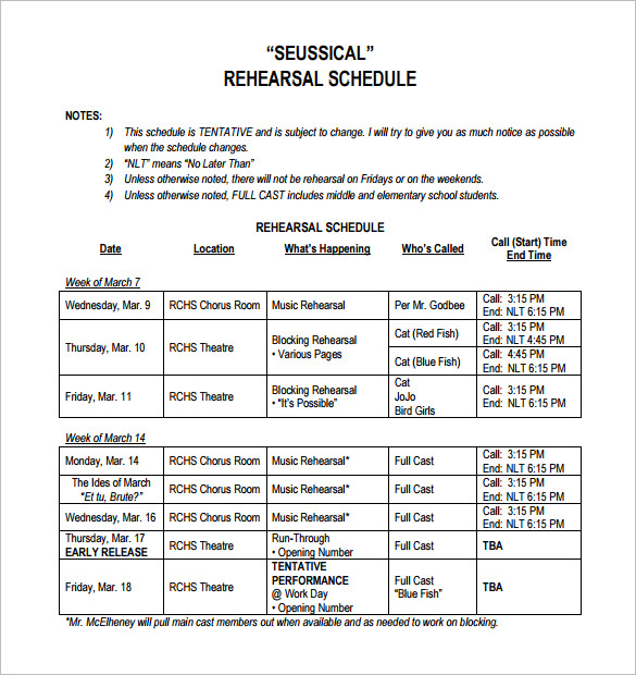 Rehearsal Schedule Template – 10+ Free Word, Excel, PDF Format