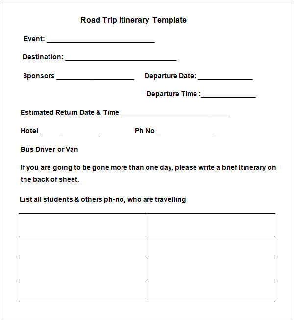 Road Trip Itinerary Template 9 Free Word, Excel, PDF Documents