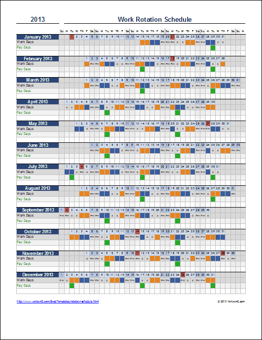 rotating schedule maker  u2013 planner template free