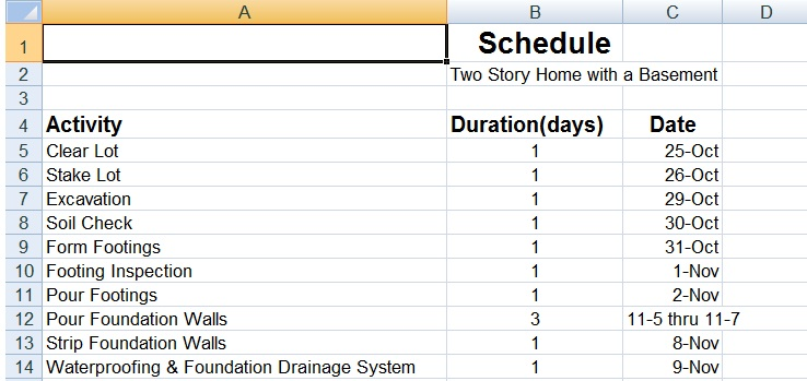 Residential Construction Schedule Template Success Building