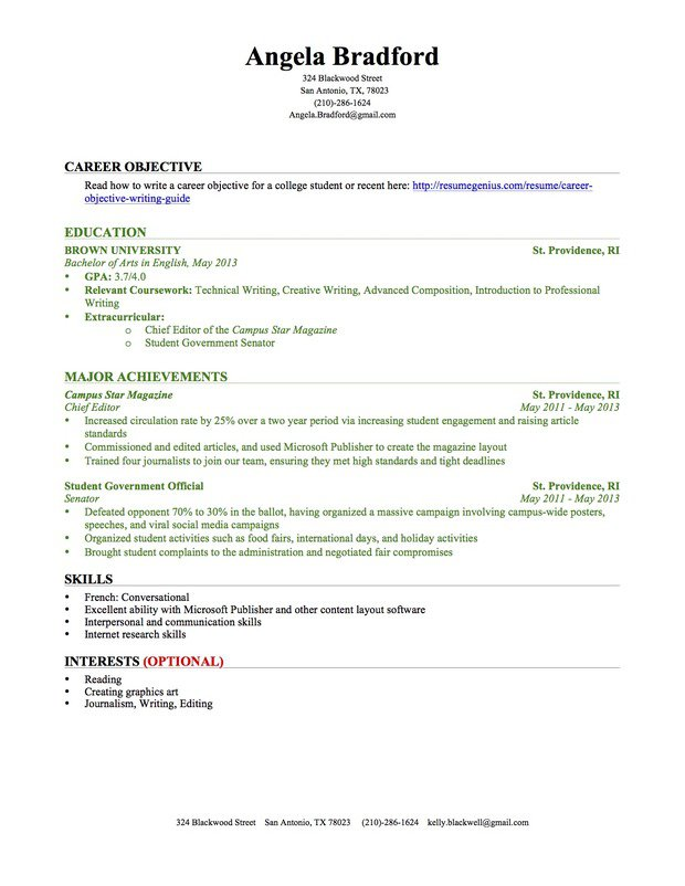 Sample Resume For College Students Still In School